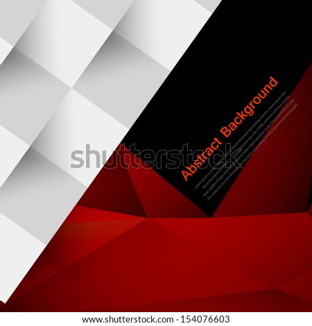 Vector abstract background. Polygon red and black - stock vector