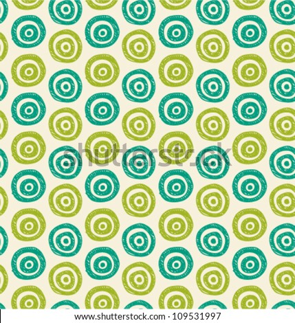 Vector abstract background. Seamless green hand drawn circles pattern. Can be used for wallpaper, pattern fills, web page background, surface textures - stock vector