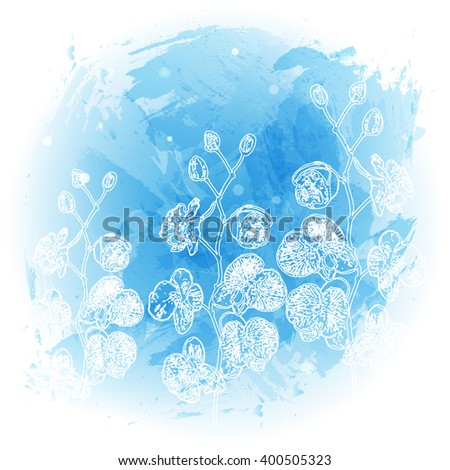 vector abstract background watercolor stylized with outline orchid branch. illustration. eps10. - stock vector