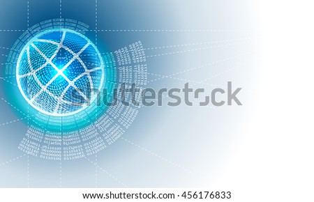 Vector abstract background with circular binary code and globe icon - stock vector