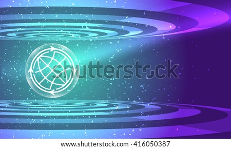Vector abstract background with circular objects and globe icon - stock vector