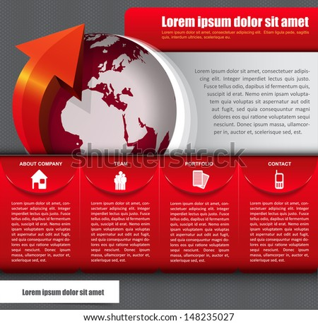 Vector abstract background with icons, globe and a description for company - stock vector