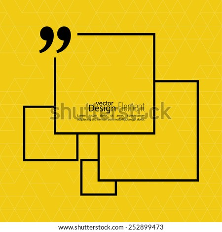 Vector abstract background with triangles.Quotation Mark Speech Bubble. Quote sign icon. - stock vector