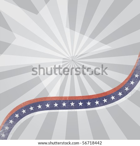 Vector abstract background with USA flag theme and grunge effect on lines - stock vector