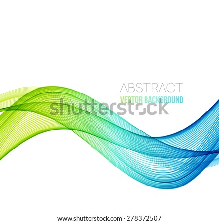 Vector Abstract blue and green curved lines background. Template brochure design - stock vector