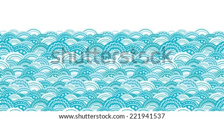 Vector abstract blue waves horizontal border seamless pattern background - stock vector