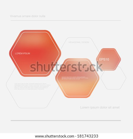 Vector abstract blurred red hexagonal design layout - stock vector