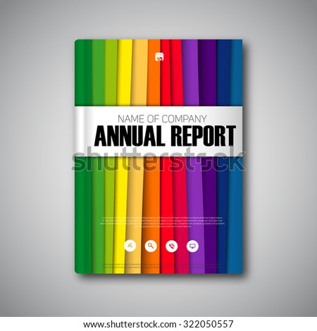 Vector abstract book or brochure, annual report, Modern design template with paper stripes, rainbow colors - stock vector