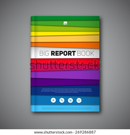Vector abstract book or brochure, Modern design template with paper stripes, rainbow colors - stock vector