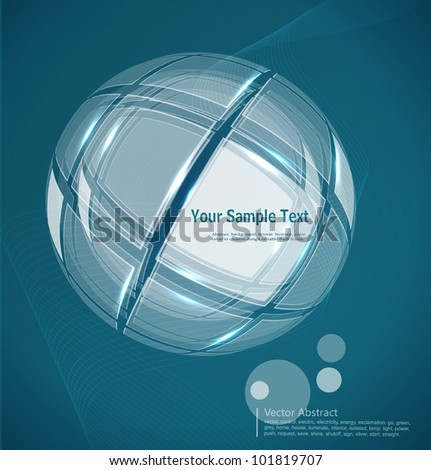 vector abstract business background with a translucent globe - stock vector