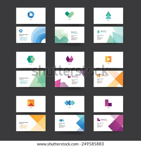 Vector abstract business cards. Colorful templates for business cards. Editable vector graphic. Collection of nine. - stock vector