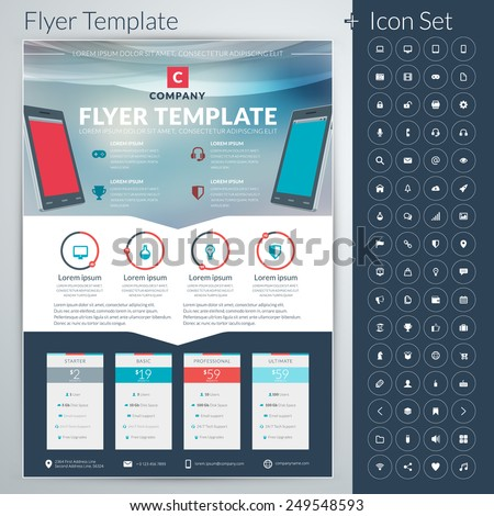 Vector abstract business flyer or poster template with icon set - stock vector