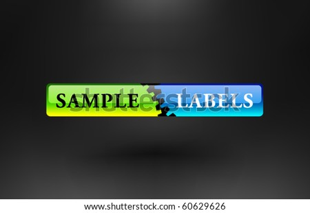 Vector Abstract Button with Gears - stock vector