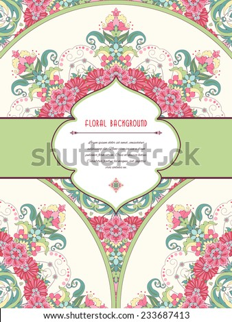 Vector abstract card with floral round pattern. Frame for your text. Delicate green and pink. - stock vector