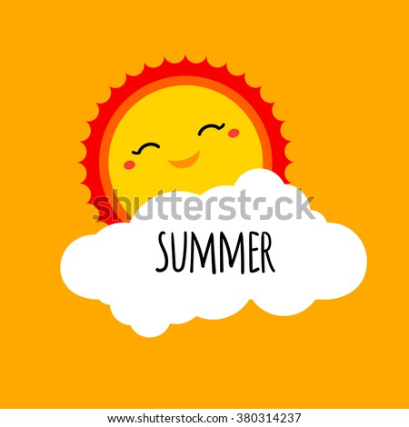 Vector abstract cartoon summer background design concept with happy smiley sun, white cloud and hand drawn lettering. Summer holiday design element for summer beach or summer camp logo, banner, sign - stock vector