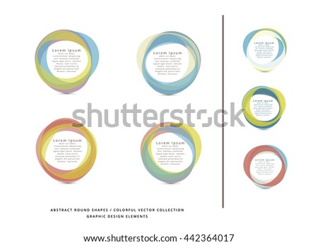 VECTOR ABSTRACT CIRCLE FRAME ELEMENTS , COLLECTION , PASTEL COLORS - stock vector