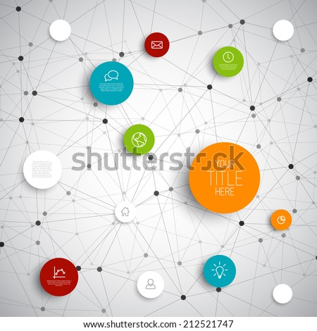 Vector abstract circles illustration / infographic network template with place for your content - stock vector