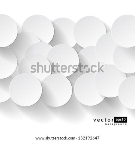 Vector Abstract Circles with drop shadows background design - stock vector