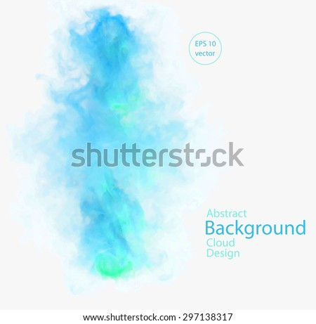 Vector abstract cloud. Vector illustration of green and blue smoke on white background. Abstract banner paints. Background for banner, card, poster, identity, web design - stock vector