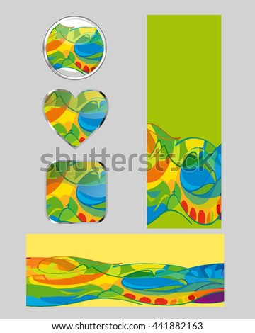 Vector abstract colorful banner and button items set isolated on grey background. Brazil sport 2016 games rio. Graphic design button signs. Web buttons of different shapes and banners templates - stock vector