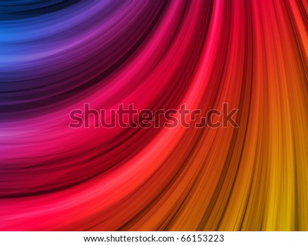 Vector - Abstract Colorful Waves on Black Background - stock vector