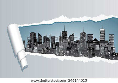 vector abstract composition with ripped paper and city skylines  - stock vector