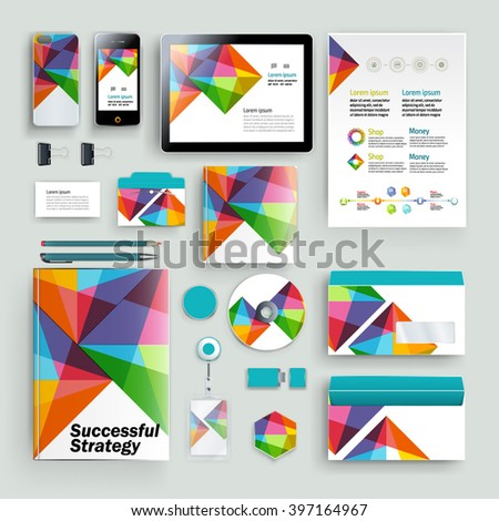 Vector abstract creative colorful business template (set for business artworks) - stock vector