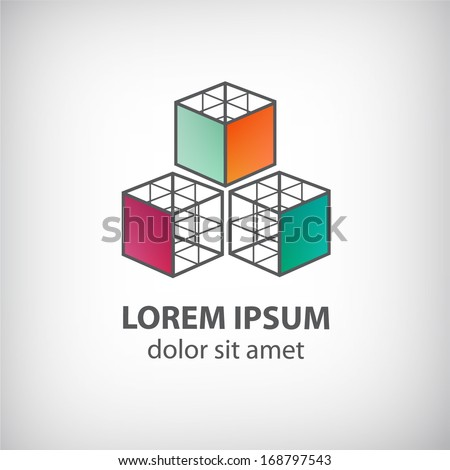 vector abstract cube construction made of 3 logo for company isolated - stock vector