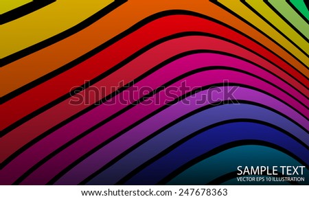 Vector abstract curved rainbow background illustration  arcs - Vector rainbow abstract colorful background illustration - stock vector