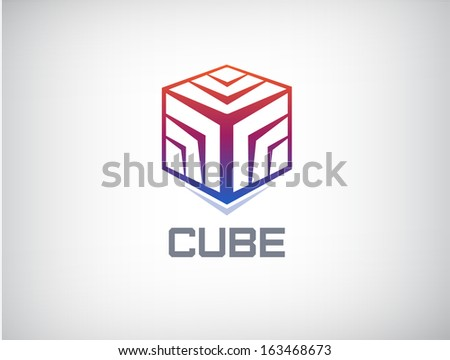 vector abstract 3d cube colorful logo for your company, identity - stock vector