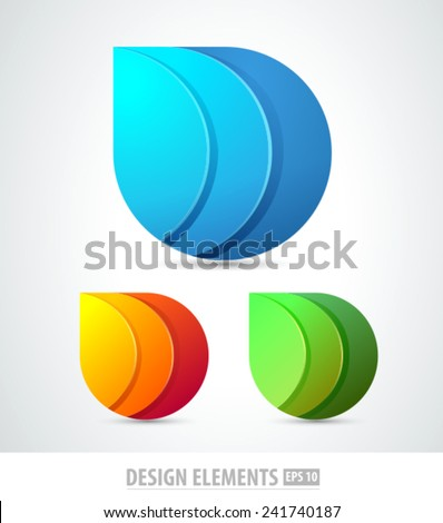 Vector abstract 3d drop logo design elements. Origami. Corporate identity. - stock vector