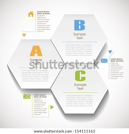 vector abstract 3d hexagonal paper infographic elements - stock vector
