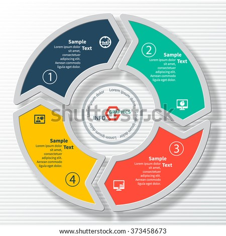 vector abstract 3d paper infographic elements.Circular infographics - stock vector