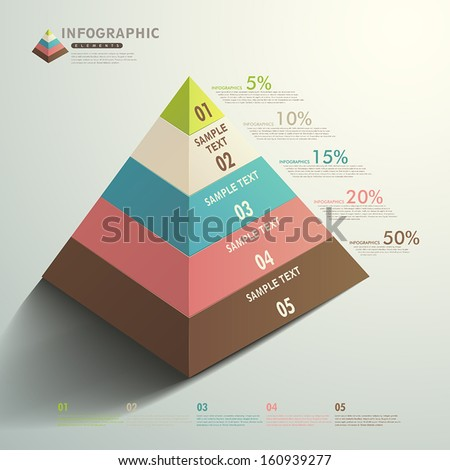 vector abstract 3d Pyramid type infographic elements - stock vector