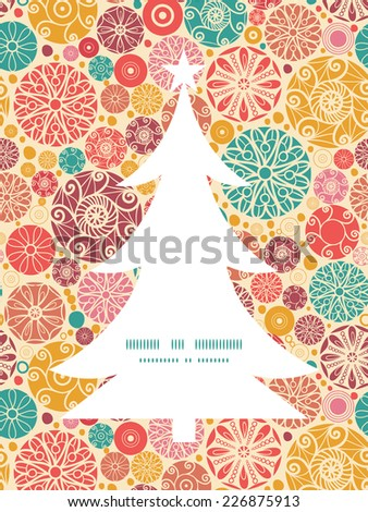 Vector abstract decorative circles Christmas tree silhouette pattern frame card template - stock vector