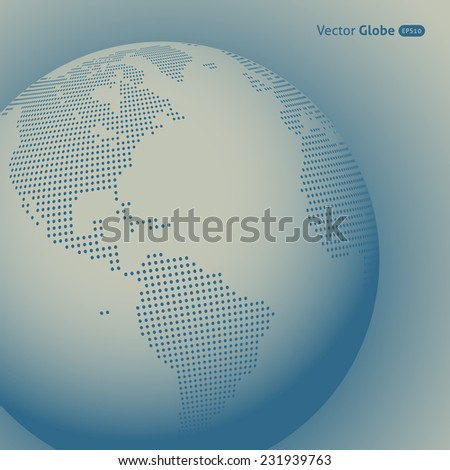 Vector abstract dotted globe, Central heating views over North and South America - stock vector