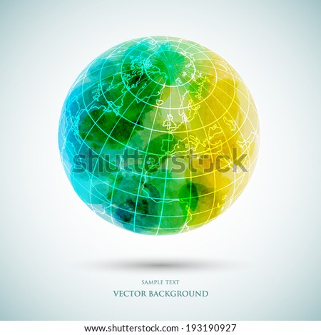 Vector abstract Earth, watercolor background - stock vector
