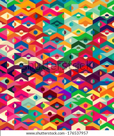 Vector Abstract Ethnic Geometric Pattern - background - stock vector
