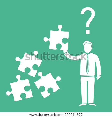 vector abstract flat design confused businessman icon with puzzle in his hand and question mark above | white pictogram separated on green background - stock vector