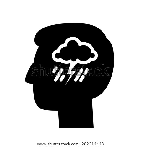 vector abstract flat design depression icon head with storm and rain inside brain | blackpictogram separated on white background - stock vector