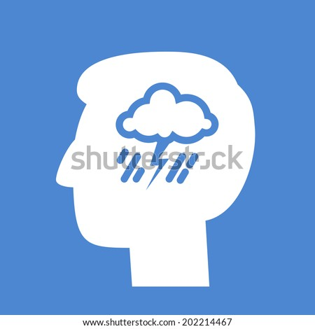 vector abstract flat design depression icon head with storm and rain inside brain | white pictogram separated on blue background - stock vector