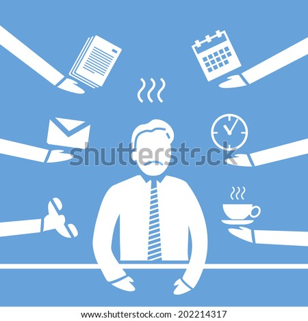 vector abstract flat design stressed and depressed businessman in his office icon white separated on blue background - stock vector