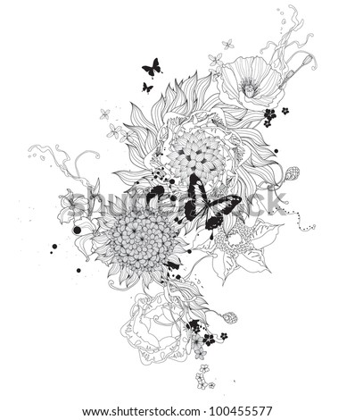 Vector abstract flowers black and white - stock vector