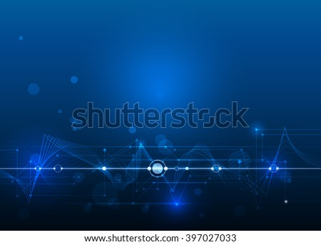 Vector Abstract futuristic circuit board and mesh line, Illustration high computer and Communication technology on blue color background. High tech digital technology,global social media concept - stock vector