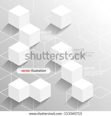 Vector abstract futuristic 3D cube / Geometrical concept illustration - eps10 - stock vector