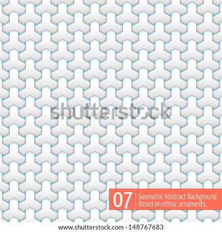 Vector abstract geometric background. Based on ethnic ornaments. Intertwined paper stripes. Elegant background for cards, invitations etc. #07 - stock vector