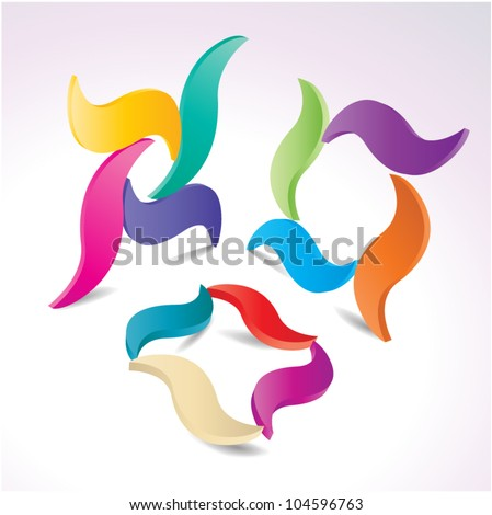 Vector abstract geometric colorful logo elements - set - stock vector