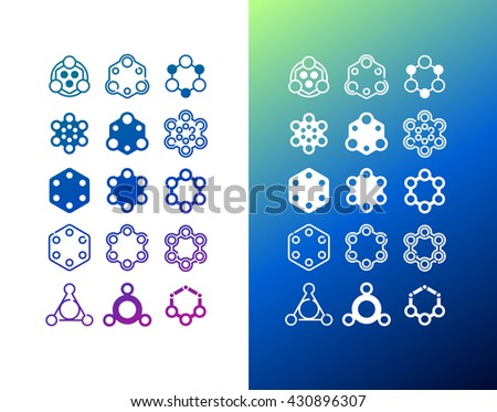 Vector abstract geometric icons set for UX/UI kit for mobile applications and web design - stock vector