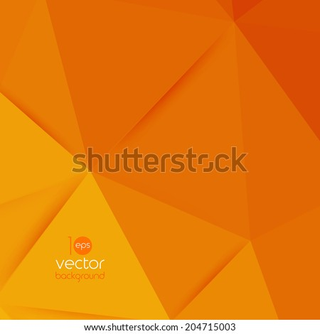 Vector abstract geometric orange background with triangle - stock vector