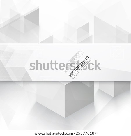 Vector Abstract geometric shape from gray cubes. White banner - stock vector